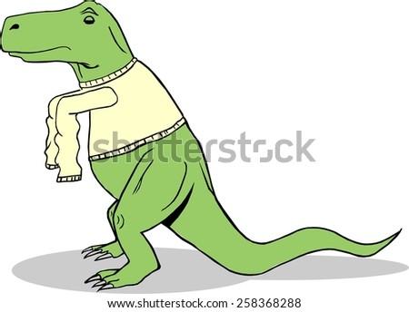 T-Rex Wearing Long Sleeve Shirt - stock photo