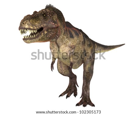 t-rex with blood in the face looking for more