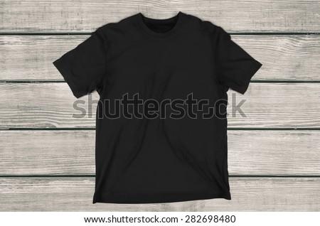T-Shirt, Black, template. - stock photo