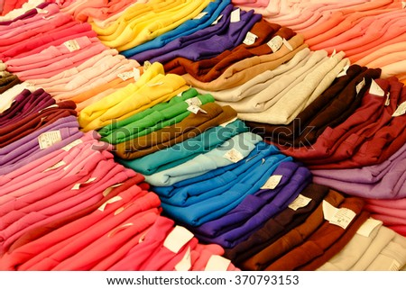 T-shirt colors arranged.