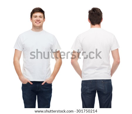t-shirt design and people concept - smiling young man in blank white t-shirt - stock photo