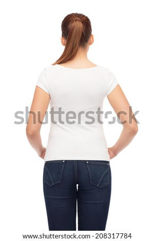 t-shirt design and people concept - young woman in blank white t-shirt from back - stock photo