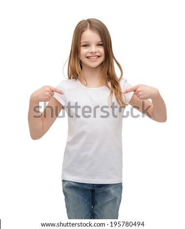 t-shirt design concept - smiling little girl in blank white t-shirt pointing at herself - stock photo