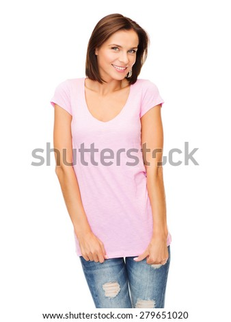 t-shirt design concept - smiling woman in blank pink t-shirt - stock photo