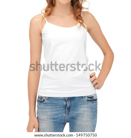 t-shirt design concept - woman in blank white tank top - stock photo