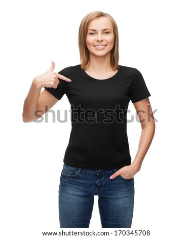t-shirt design, happy people concept - smiling woman in blank black t-shirt pointing her finger at herself - stock photo