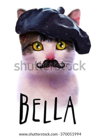 T-shirt graphics/cat illustration/watercolor cat/cat poster/watercolor animal print/tabby cat/scottish cat/fancy cat graphic/illustration posh cat/cartoon character/cat drawing on a white background - stock photo