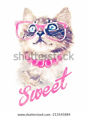 T-shirt graphics/cute cat illustration/watercolor cat/cat poster/cat graphics for textiles/princess cat design/adorable cute cat/tabby cat - stock photo