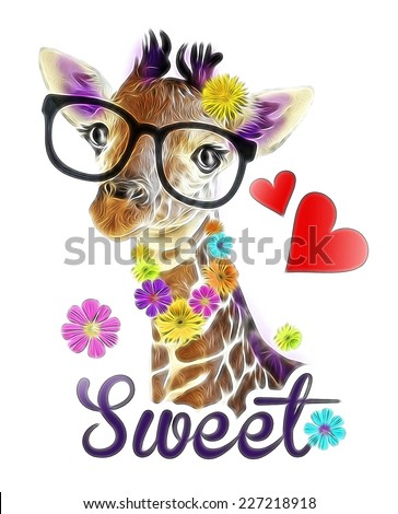 T-shirt Graphics / illustration cute giraffe / Funny giraffe's face isolated / Giraffe head face look funny isolated on white background - stock photo