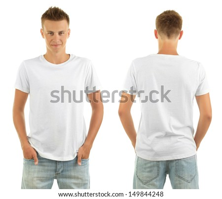 T-shirt on young man in front and behind isolated on white - stock photo