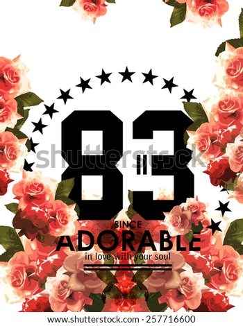 T-shirt print with numbers and roses. - stock photo