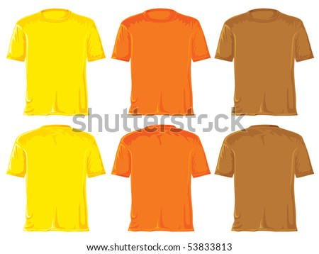 T-shirt set. Without gradients, great for printing. Yellow, orange and brown. JPEG version - stock photo