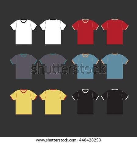 T-shirt template icon set isolated on gray background. illustration.