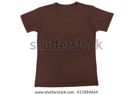T-Shirt top view flat lay template on isolated white background