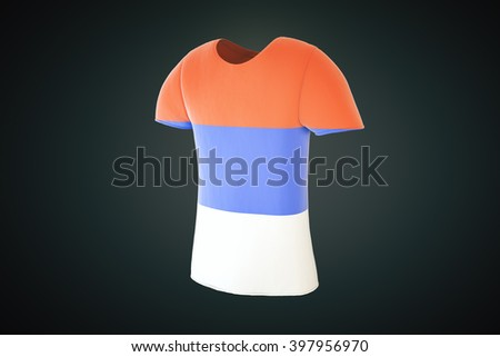 T-shirt with a Serbian flag print isolated on a dark background. Sideview, 3D Rendering