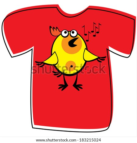 T-shirt with chicken on white background