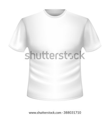 T-shirt without a pattern. White T-shirt in a volume silhouette short sleeves. Tight-fitting T-shirt silhouette. 3d picture clothes for spring, summer. Three-dimensional image T-shirt. - stock photo