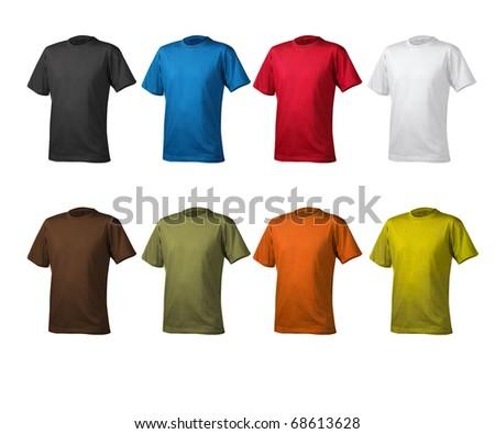 t shirts cotton white background - stock photo