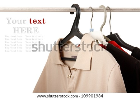t-shirts on the hanger - stock photo