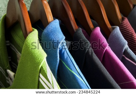 T-shirts on the hangers - stock photo