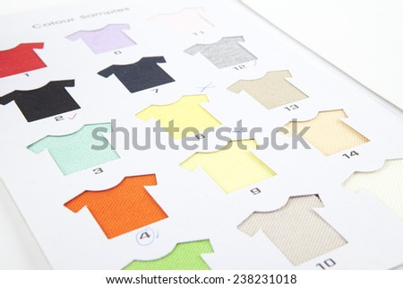 T-shirts shaped textile cotton samples - stock photo