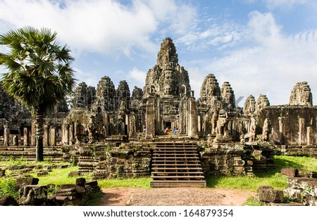 Ta Prohm temple area near Angkor Wat in Cambodia. - stock photo