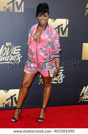 Ta'Rhonda Jones at the 2016 MTV Movie Awards held at the Warner Bros. Studios in Burbank, USA on April 9, 2016.