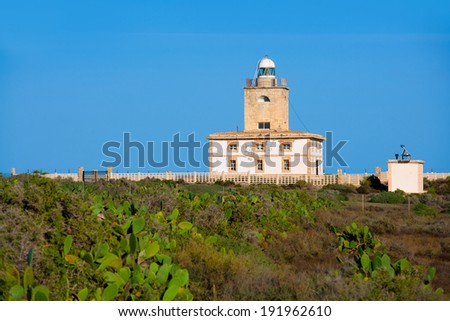 Tabarca island Lighthouse in Alicante Spain at Mediterranean sea