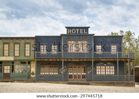 TABERNAS DESERT, ALMERIA, SPAIN - September 19, 2014: Because of its similarities with the North American deserts served from 1950s and is still used today for the shooting of many films and westerns. - stock photo