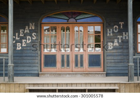 TABERNAS DESERT, ALMERIA, SPAIN - September 19, 2014: hotel entry at the wild west town - stock photo