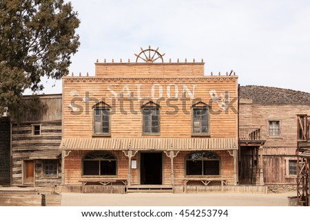 TABERNAS, SPAIN - OCT 17, 2015: Saloon at the Fort Bravo Texas Hollywood western style theme park in the Province of Almeria, Spain