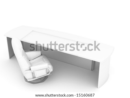 table and armchair on a white background executed in a high key