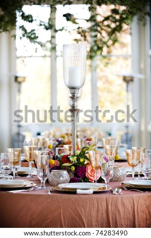 table and center piece at a banquet - stock photo