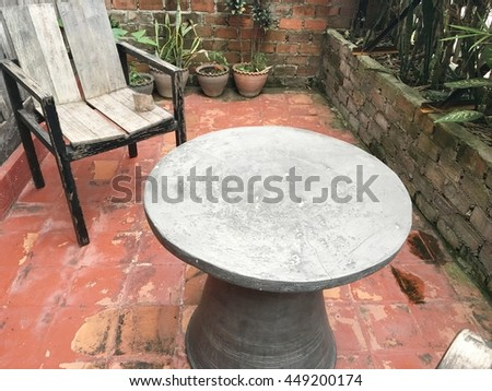 table and chair in park back home