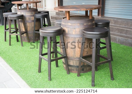 Table and chair in restaurant - stock photo