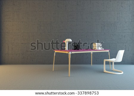 table and chair in the room 3d Rendering