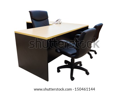 Table and chairs in working room, Office interior with clipping path - stock photo