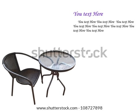 Table and chairs, isolated on white - stock photo