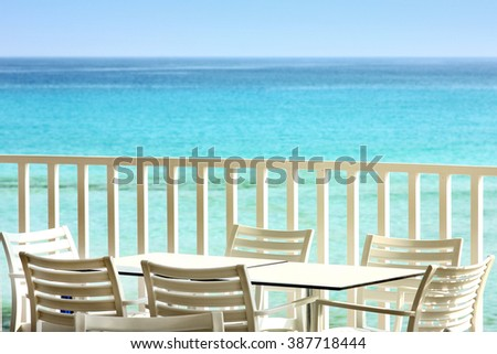 table and chairs on the beach cafe