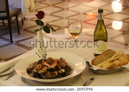 table and restaurant - stock photo