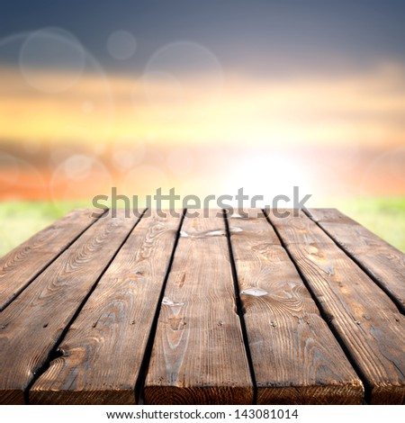 table and sunset - stock photo