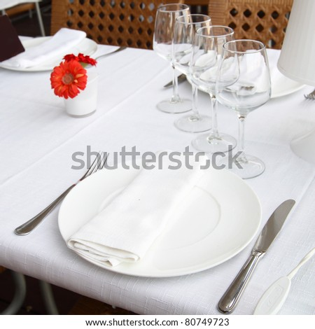 Table appointments at a restaurant close-up - stock photo