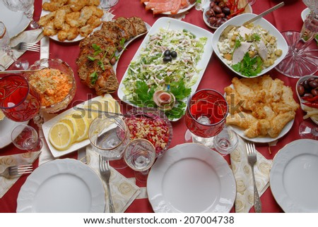 table arrangement for celebration  - stock photo