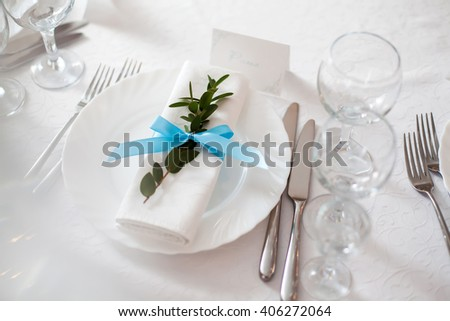Table arrangement in restaurant - stock photo
