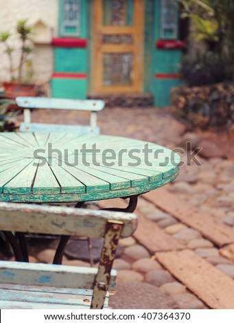 table at summer terrace restaurant. Selective focus , vintage filter - stock photo