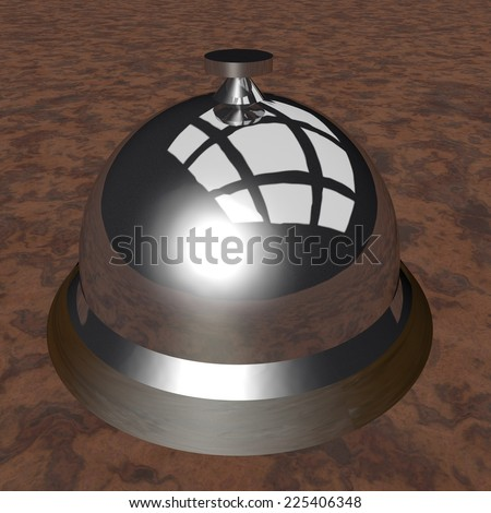 Table bell over wooden surface, 3d render - stock photo