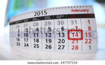 Table calendar with red mark on 14 february