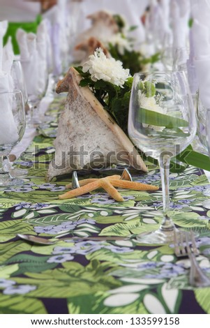 table center piece. wedding table decoration - stock photo