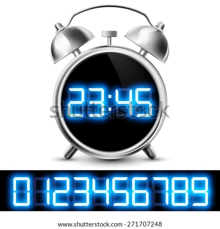 table clock with digital display and a set of numbers - stock photo