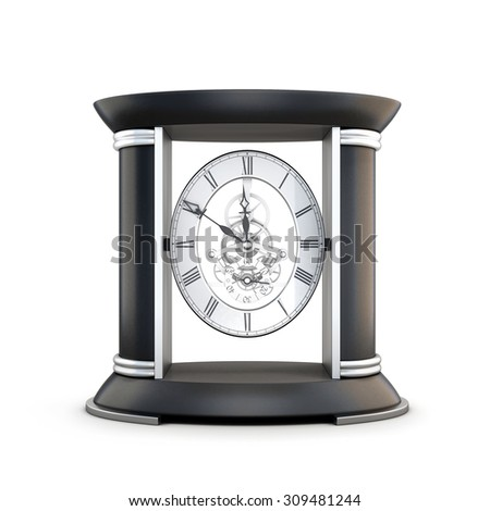 Table clock with visible mechanism isolated on white background. 3d illustration. - stock photo